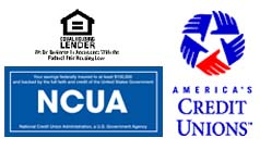 Equal Housing Lender, NCUA, and America's Credit Union Logos